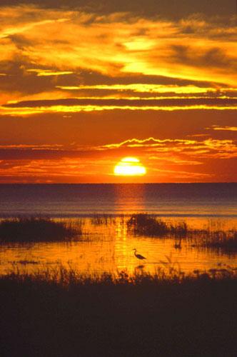 39-2-11 - Sunset over Saginaw Bay. Sand Point, MI.