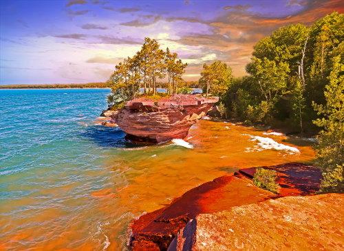 D-18-134 - Turnip Rock. Pte. Aux Barques. Port Austin, MI. Digitally enhanced.