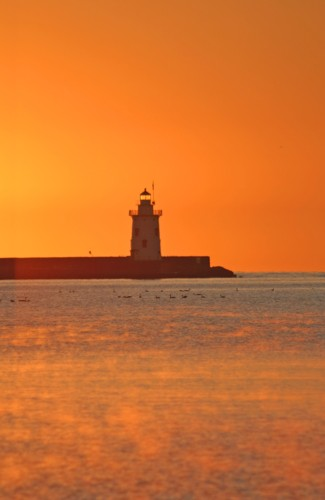 D-LH-162 - Harbor Lighthouse at sunrise. Harbor Beach, MI.