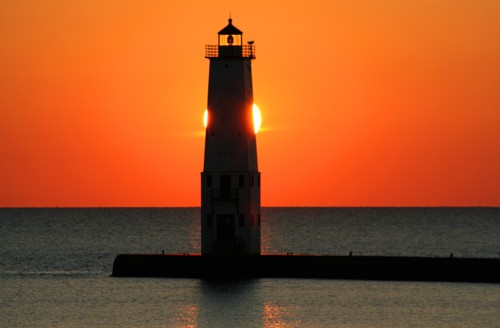 D-LH-173 - Harbor Lighthouse at sunset. Frankfort, MI