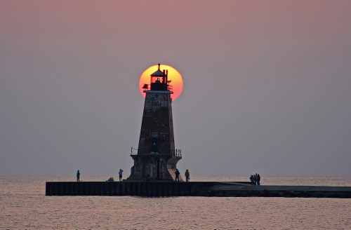 D-LH-316 - North Breakwater Lighthouse at sunset, Ludington, MI.