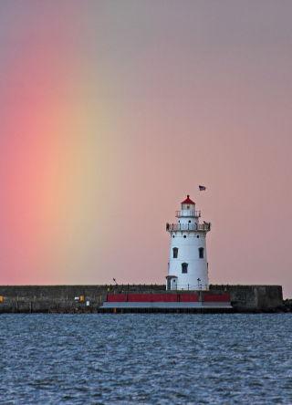 D-LH-440 - Rainbow over the harbor lighthouse. Harbor Beach, MI.