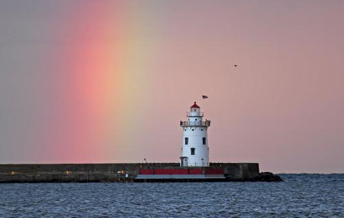 D-LH-443 - Rainbow over the harbor lighthouse. Harbor Beach, MI.