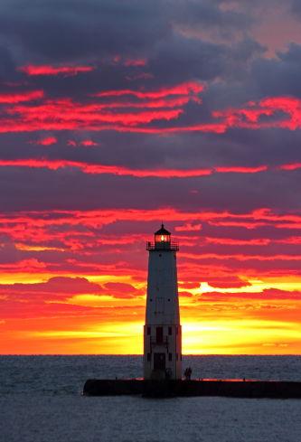 D-LH-567 - Harbor Lighthouse at sunset. Frankfort, MI.