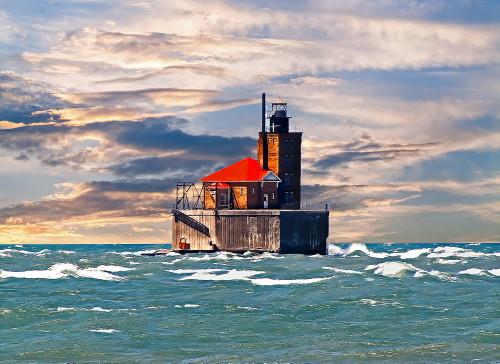 D-LH-736 - Reef Lighthouse. Digitally enhanced. Port Austin, MI.