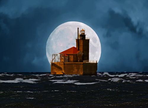 D-LH-737 - Reef Lighthouse. Port Austin, MI. Digitally enhanced.