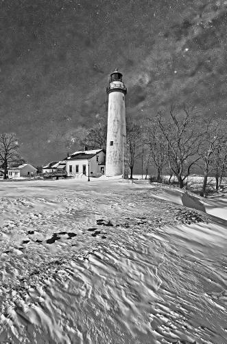 D-LH-781 - Pte. Aux Barques Lighthouse. Lighthouse County Park. Port Hope, MI. Digitally enhanced. B&W.