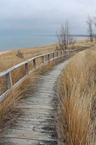 D-RP-117 - Boardwalk along the shore of Lake Huron. Port Crescent State Park Day Use Area. Port Austin, MI.