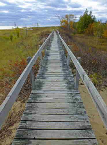 D-RP-141 - Boardwalk along the shore of Lake Huron. Tawas State Park. Tawas City, MI.