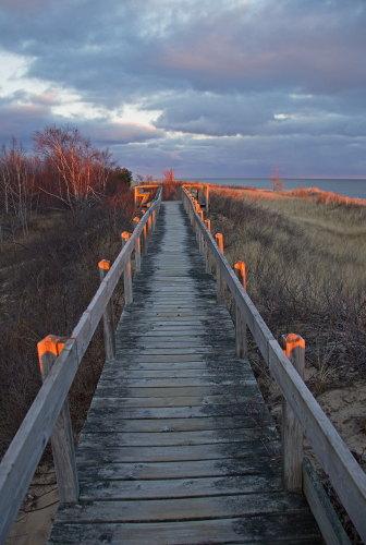 D-RP-185 - Boardwalk along the shore of Lake Huron. Tawas State Park. Tawas City, MI.