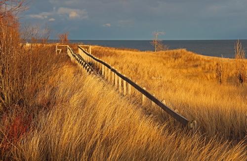 D-RP-186 - Boardwalk along the shore of Lake Huron. Tawas State Park. Tawas City, MI.