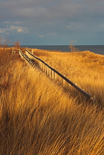 D-RP-188 - Boardwalk along the shore of Lake Huron. Tawas State Park. Tawas City, MI.