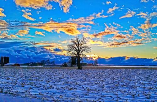 D-12-415 - Farm Scene at Sunset. Digitally enhanced. Caseville, MI.