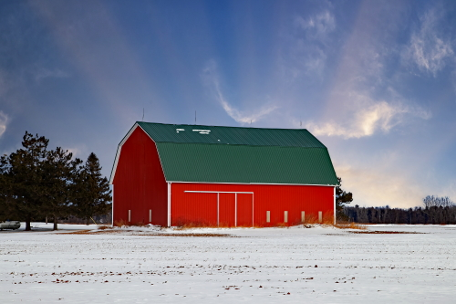 D-12-426 - Winter Farm Scene. Bad Axe, MI.