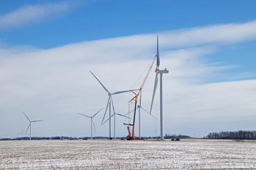 D-12-433 - Winter Scene on a Wind Farm. Pigeon, MI.