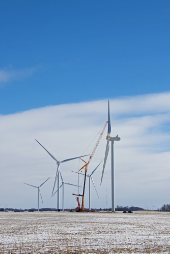 D-12-434 - Winter Scene on a Wind Farm. Pigeon, MI.