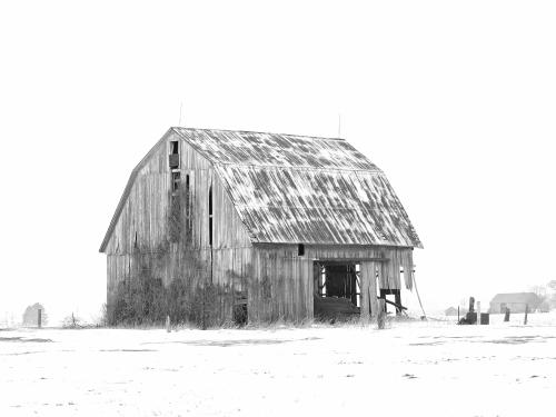 D-9-177 - Wintry Farm Scene. Sebewaing, MI. Digitally enhanced. B&W.