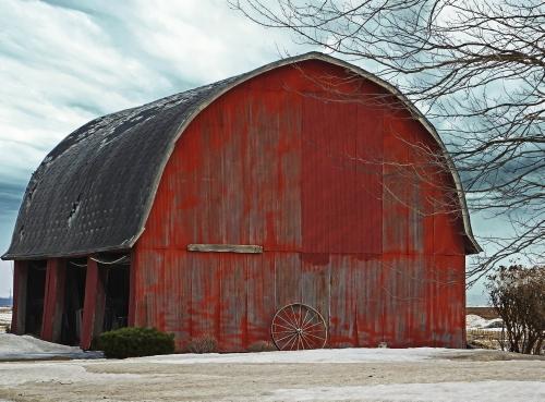 D-9-190 - Wintry Farm Scene. Elkton MI. Digitally enhanced.