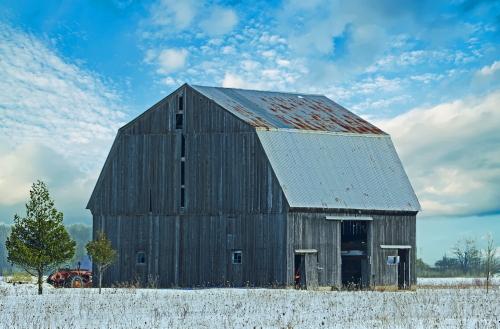 D-9-204 - Wintry Farm Scene. Port Hope, MI. Digitally enhanced.