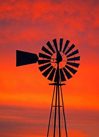 D-11-260 - Old Fashioned Windmill at Sunrise. Pigeon, MI.