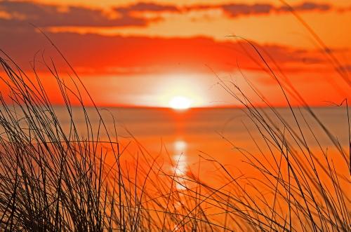 D-17-123 - Sunset over Lake Huron. Port Crescent State Park Day Use Area. Port Austin, MI.