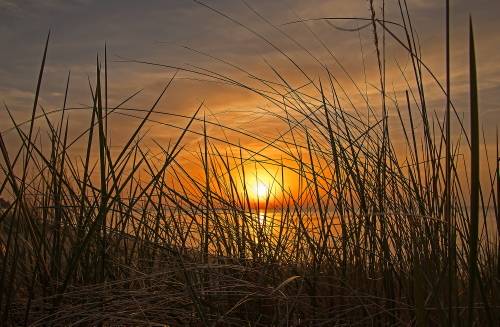 D-17-128 - Sunset over Lake Huron. Port Crescent State Park Day Use Area. Port Austin, MI.