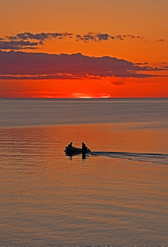 D-HB-721 - Sunset over Lake Huron. Port Crescent State Park Day Use Area. Port Austin, MI.