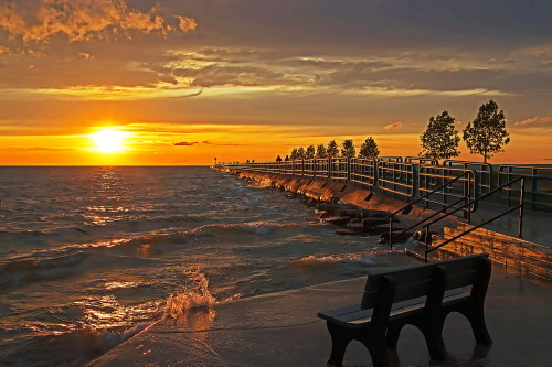 D-HB-763 - Saginaw Bay sunset. Breakwall at Pointe Park. Caseville, MI.