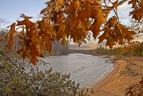 D-16-191 - Scene along the Pinnebog River. Port Crescent State Park Day Use Area. Port Austin, MI. Digitally enhanced.