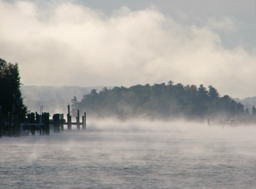 D-HB-148 - Fog on Lake Charlevoix. Ironton Public Access. Charlevoix, MI.