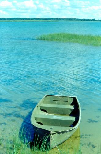 HB-7-19 - Row Boat on Saginaw Bay. Fish Point Wildlife Area. Unionville, MI.